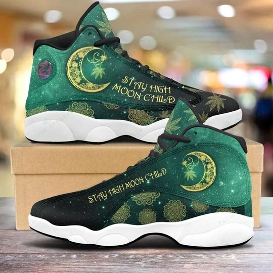 weed leaf stay high moon child all over printed air jordan 13 sneakers 1