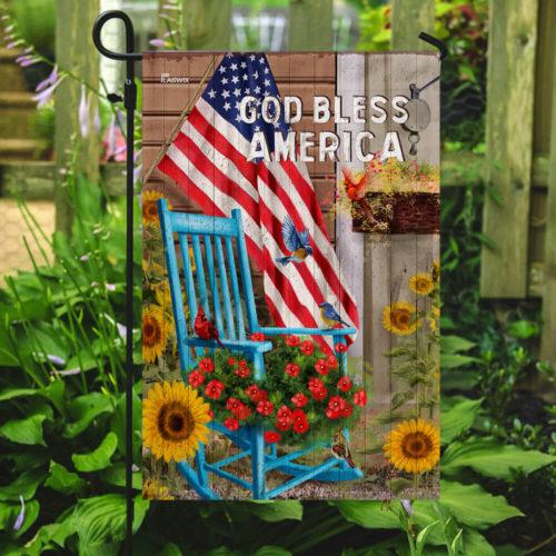 God bless american sunflower garden all over print flag 2