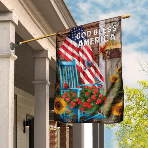 God bless american sunflower garden all over print flag 4