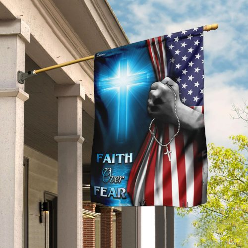 God cross faith over fear american flag all over print flag 2