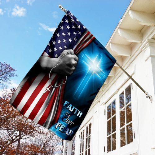 God cross faith over fear american flag all over print flag 3