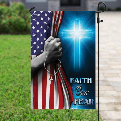 God cross faith over fear american flag all over print flag 4