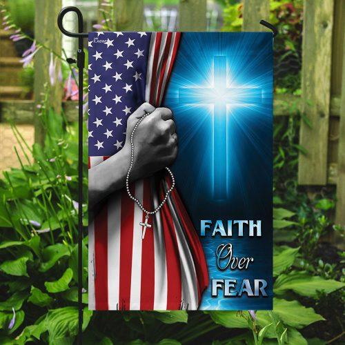 God cross faith over fear american flag all over print flag 5
