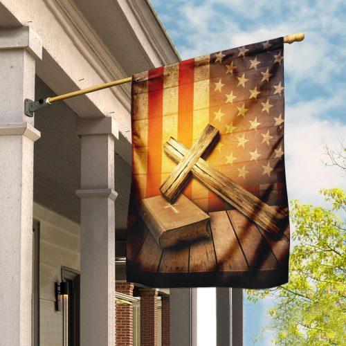 Jesus cross american flag all over print flag 2