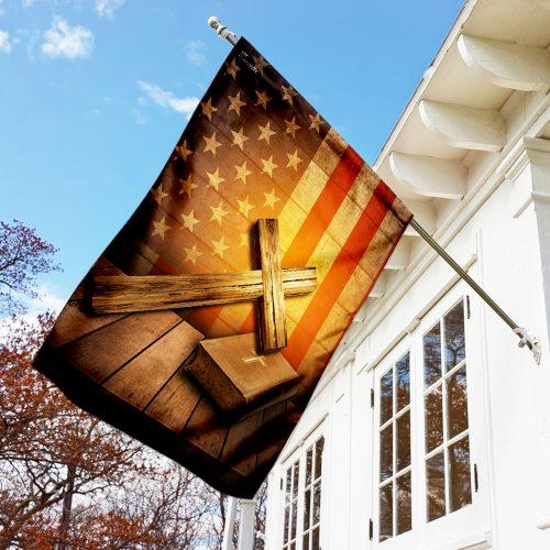 Jesus cross american flag all over print flag 3