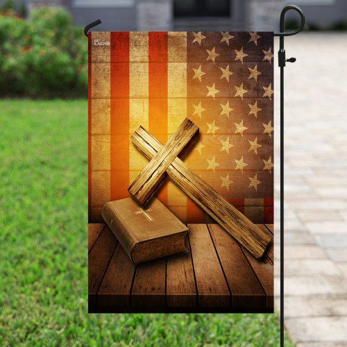 Jesus cross american flag all over print flag 4