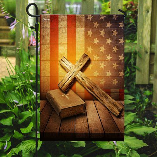 Jesus cross american flag all over print flag 5