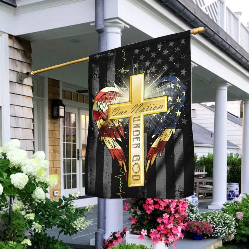 Jesus cross one nation under God american flag all over print flag 2