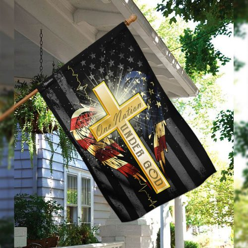 Jesus cross one nation under God american flag all over print flag 3