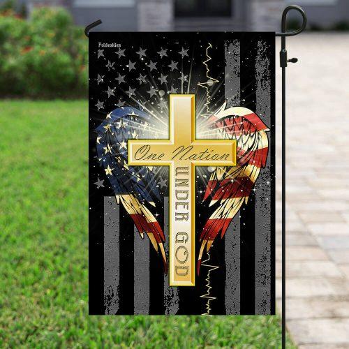 Jesus cross one nation under God american flag all over print flag 4