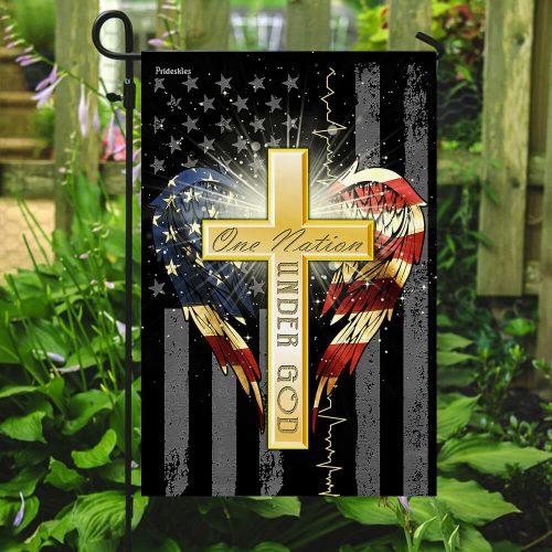 Jesus cross one nation under God american flag all over print flag 5