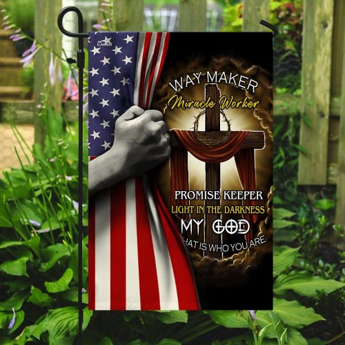 Jesus cross way maker miracle worker all over print flag 5