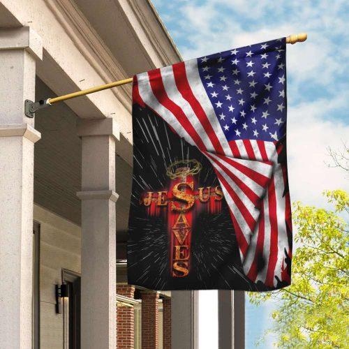 Jesus saves usa american flag all over print flag 2