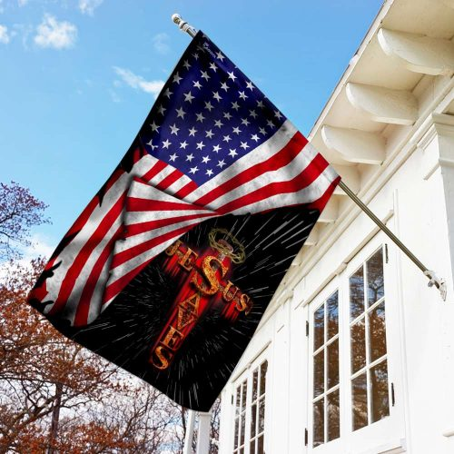 Jesus saves usa american flag all over print flag 3