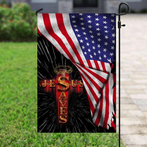 Jesus saves usa american flag all over print flag 4