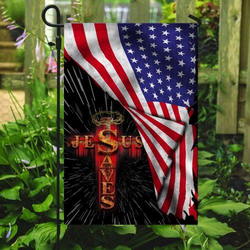Jesus saves usa american flag all over print flag 5