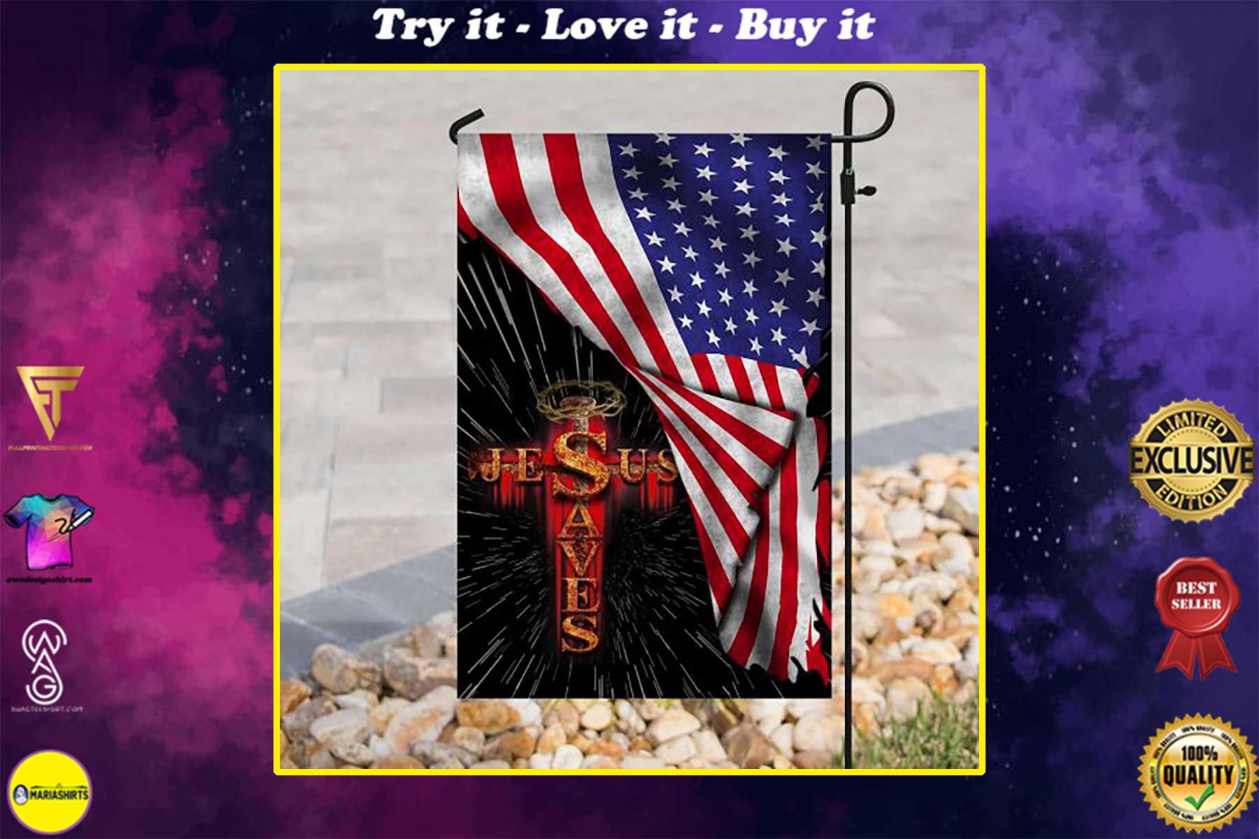 Jesus saves usa american flag all over print flag