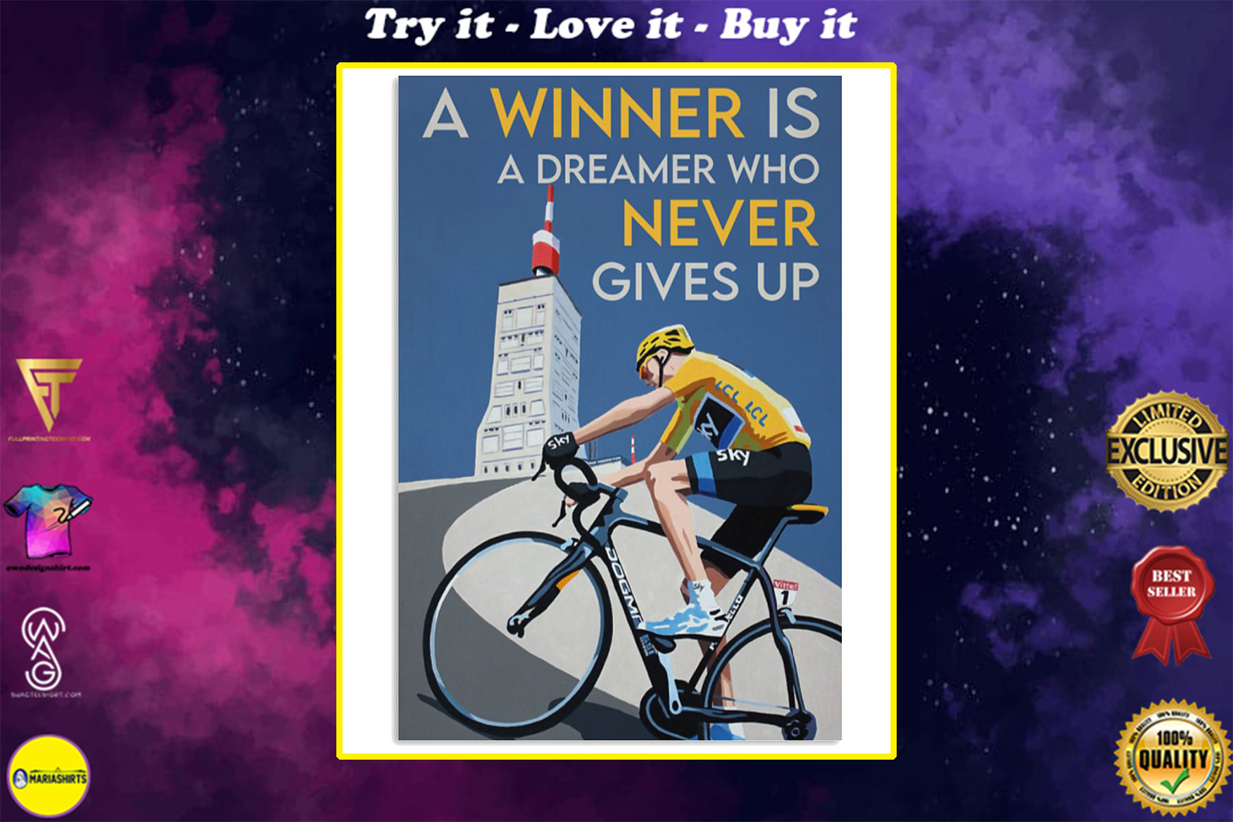 a winner is a dreamer who never gives up cycling poster