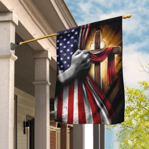 american flag God cross all over print flag 2