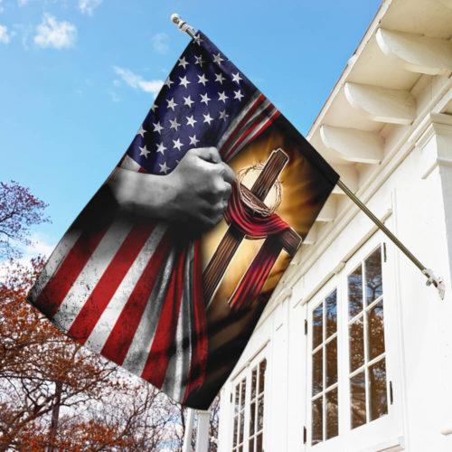 american flag God cross all over print flag 3