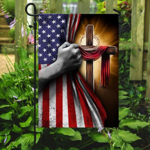 american flag God cross all over print flag 4
