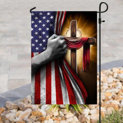 american flag God cross all over print flag 5