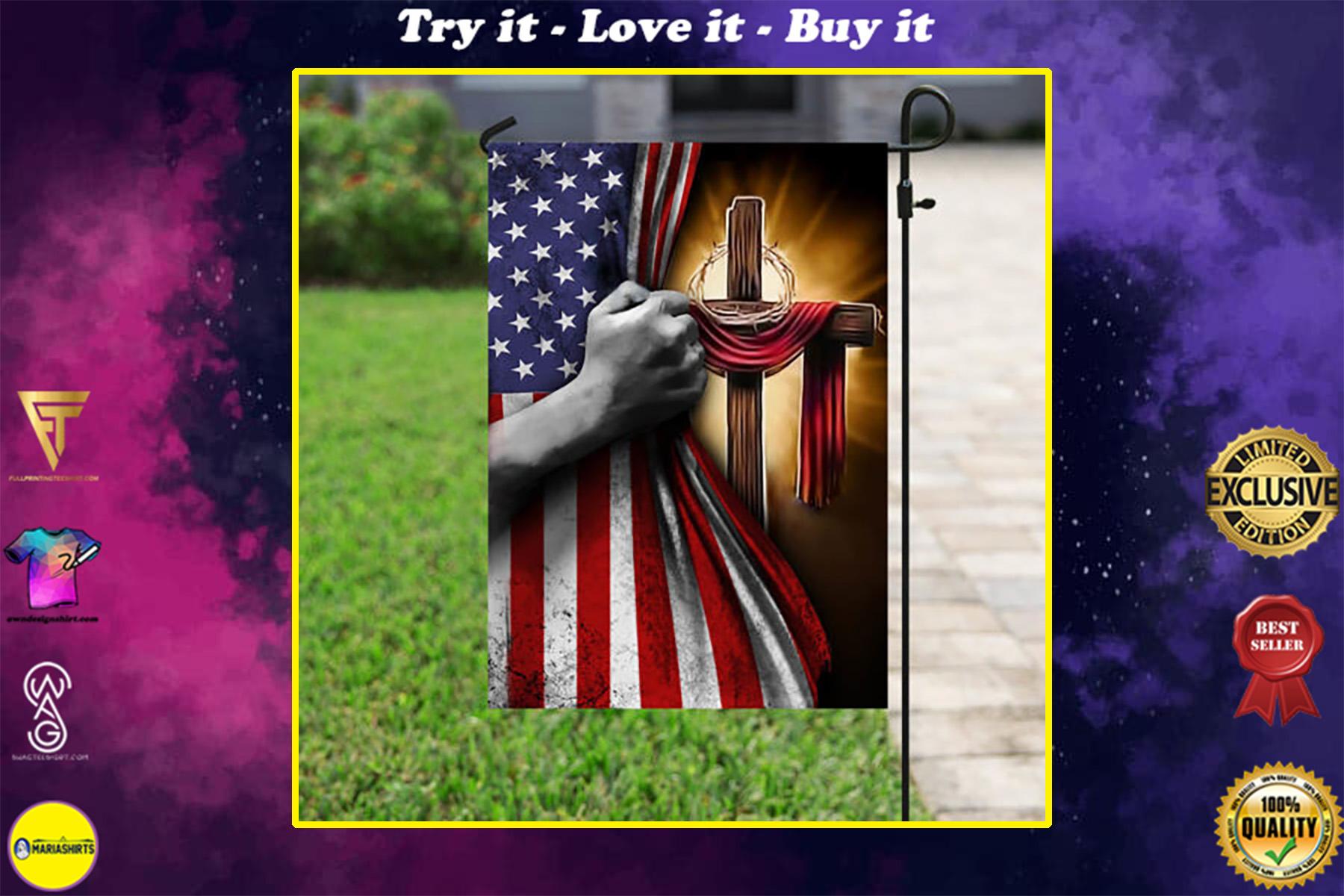 american flag God cross all over print flag