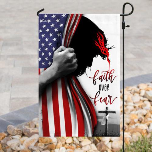 american flag God faith over fear all over print flag 2