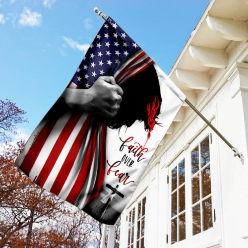 american flag God faith over fear all over print flag 3