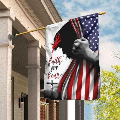 american flag God faith over fear all over print flag 4