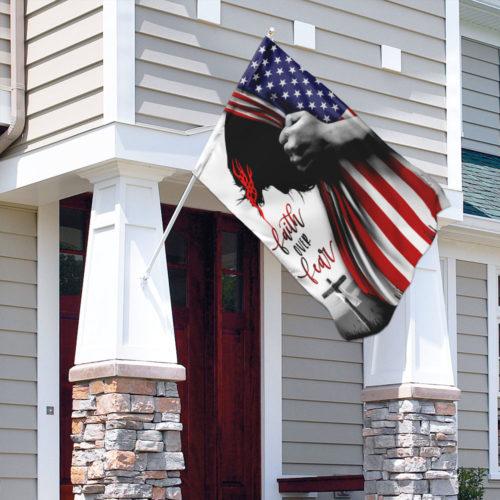 american flag God faith over fear all over print flag 5