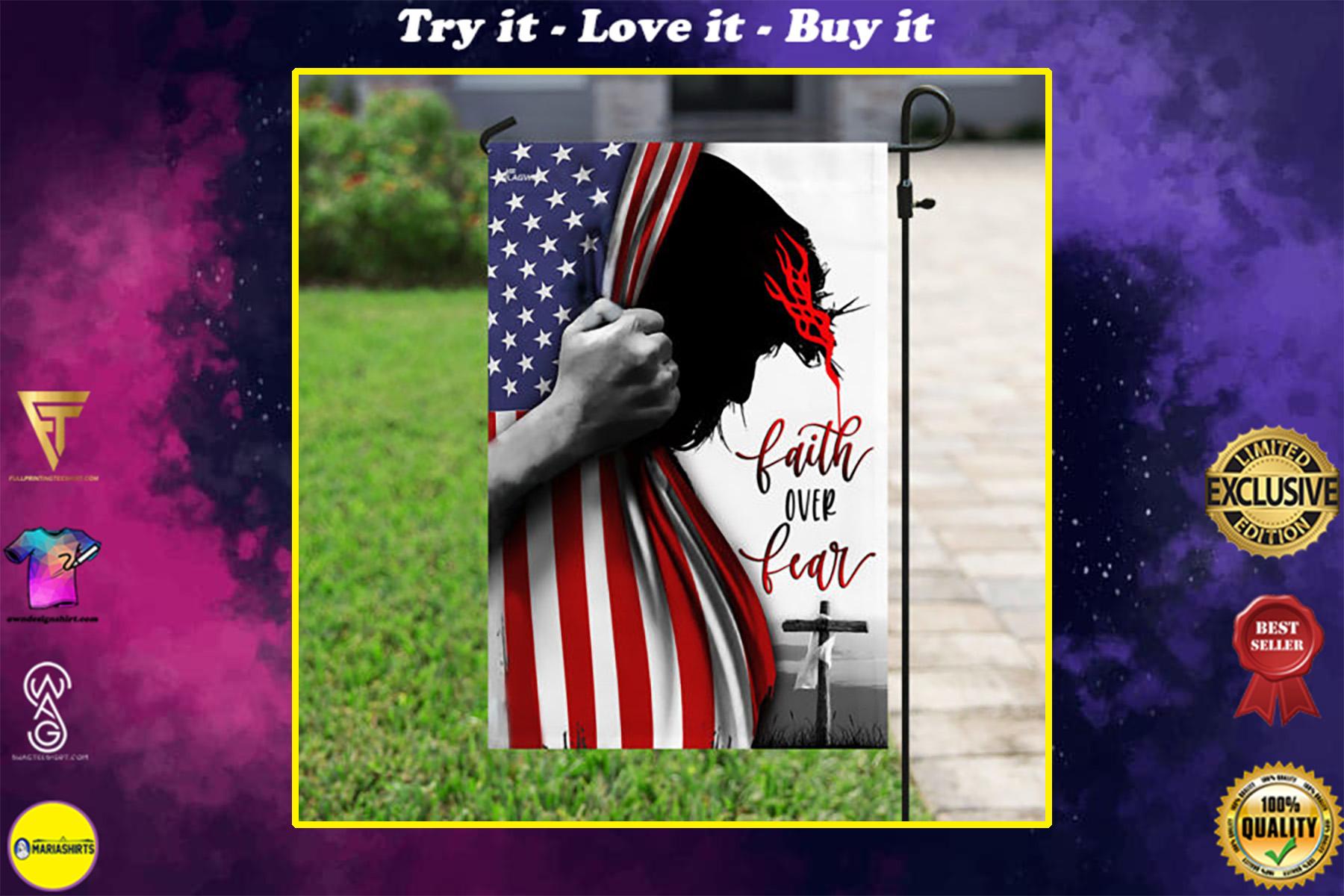 american flag God faith over fear all over print flag