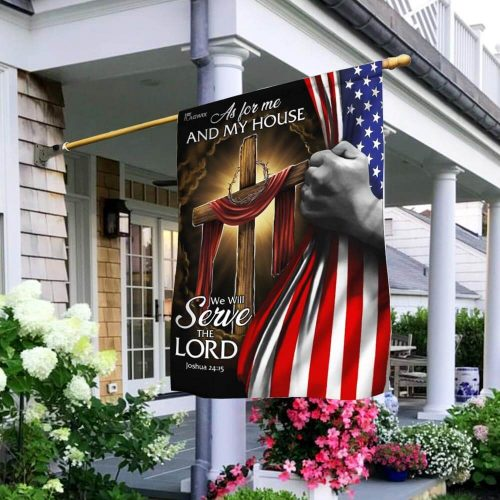 american flag as for me and my house we will serve the Lord all over print flag 2