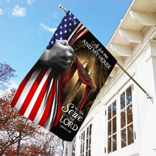 american flag as for me and my house we will serve the Lord all over print flag 3
