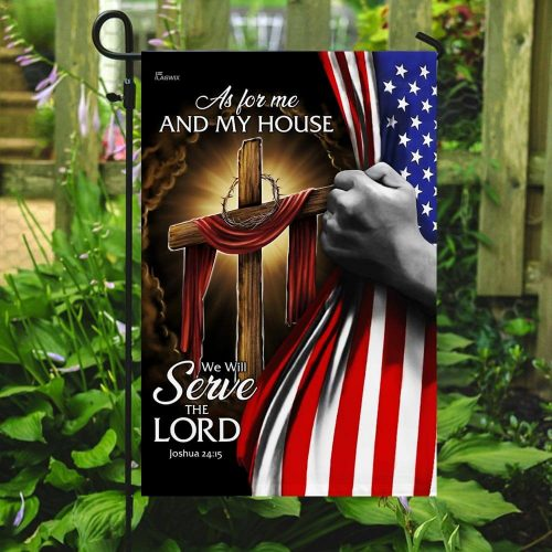 american flag as for me and my house we will serve the Lord all over print flag 5