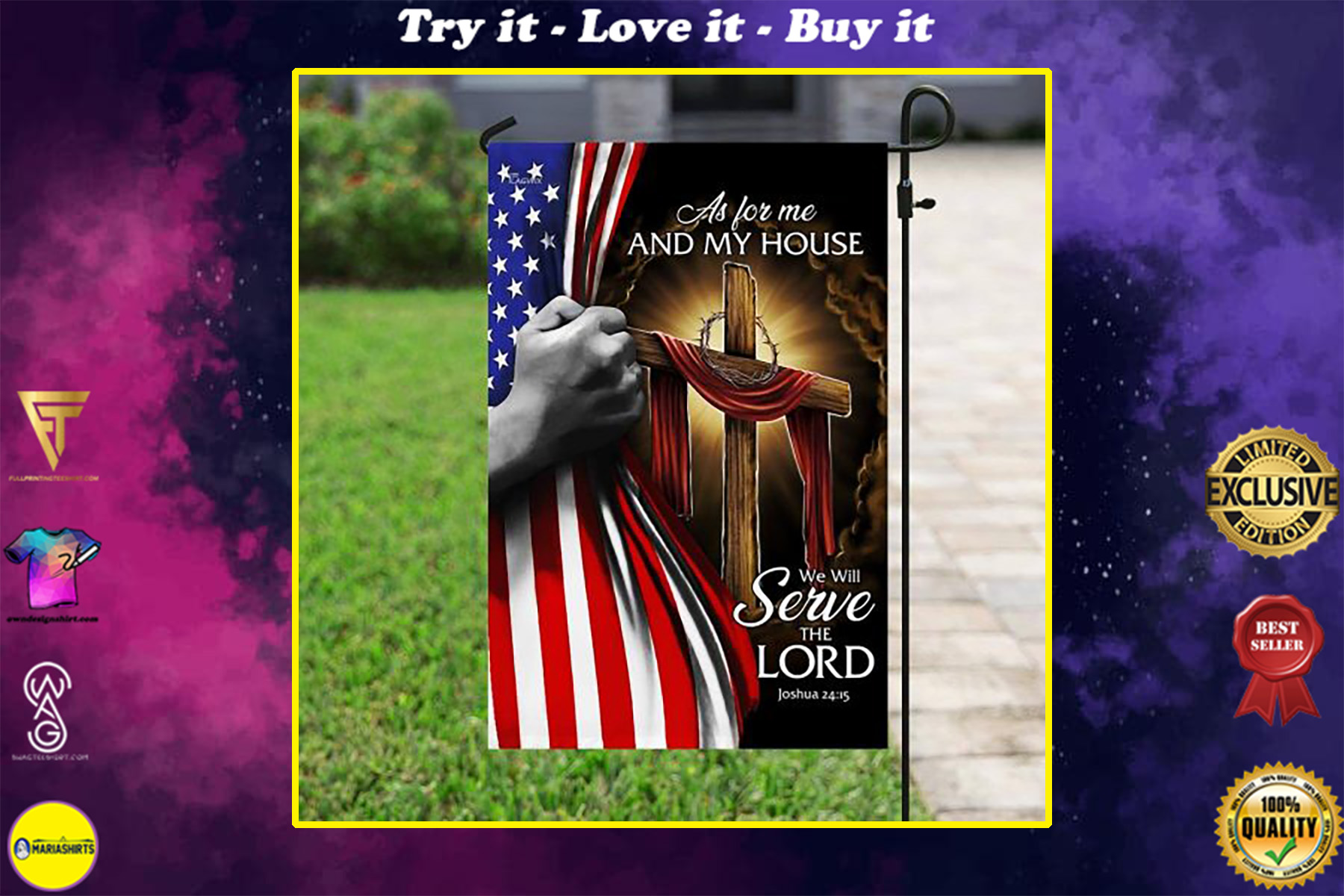 american flag as for me and my house we will serve the Lord all over print flag
