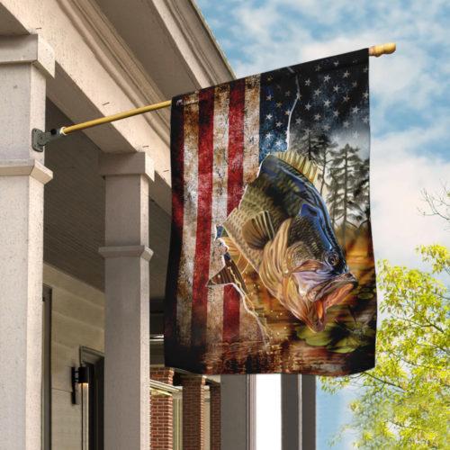 american flag bass fishing all over print flag 2