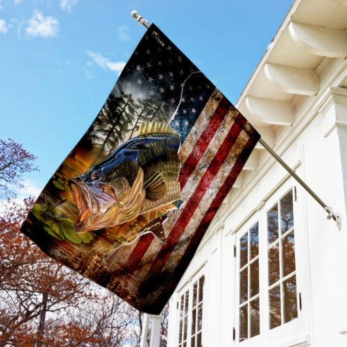 american flag bass fishing all over print flag 3