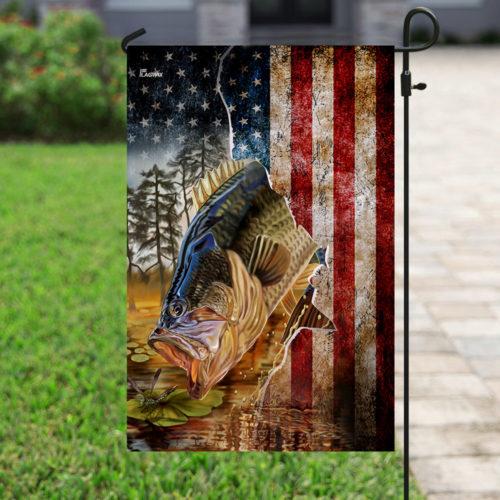 american flag bass fishing all over print flag 4