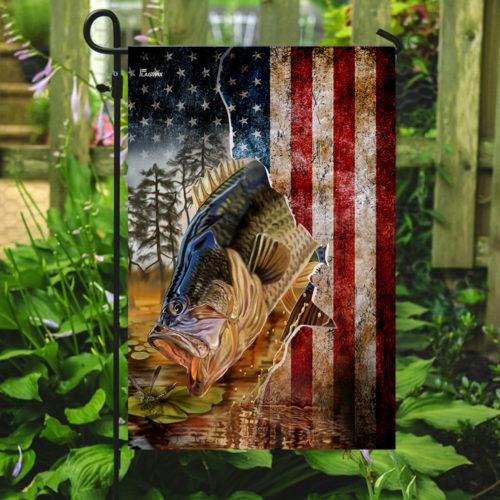 american flag bass fishing all over print flag 5