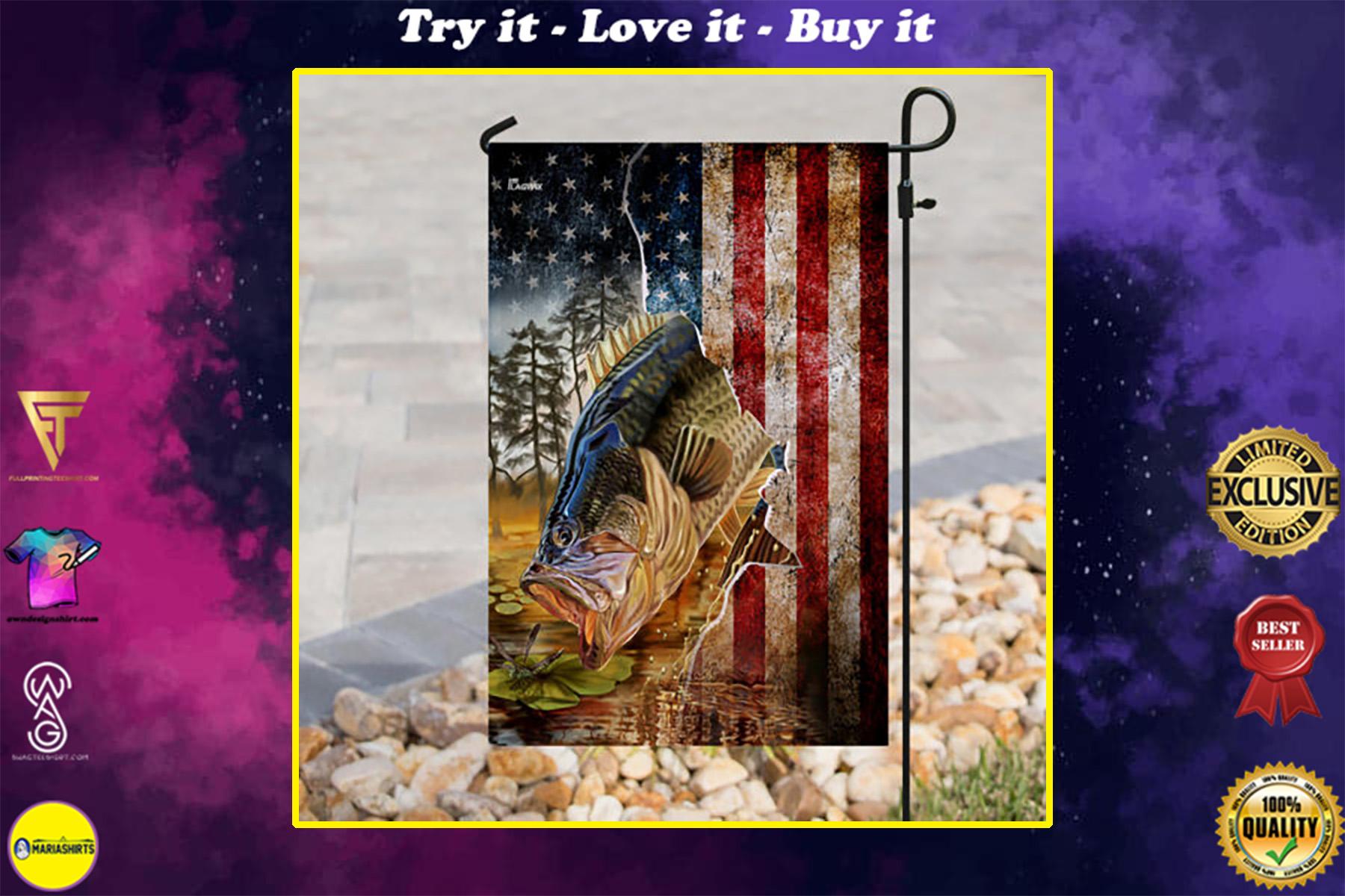 american flag bass fishing all over print flag