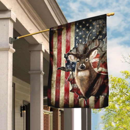 american flag deer hunter all over printed flag 2