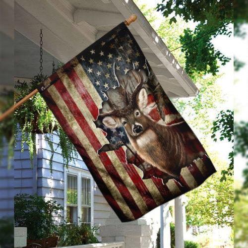 american flag deer hunter all over printed flag 3