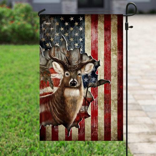 american flag deer hunter all over printed flag 4