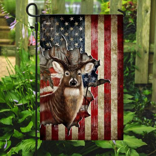 american flag deer hunter all over printed flag 5
