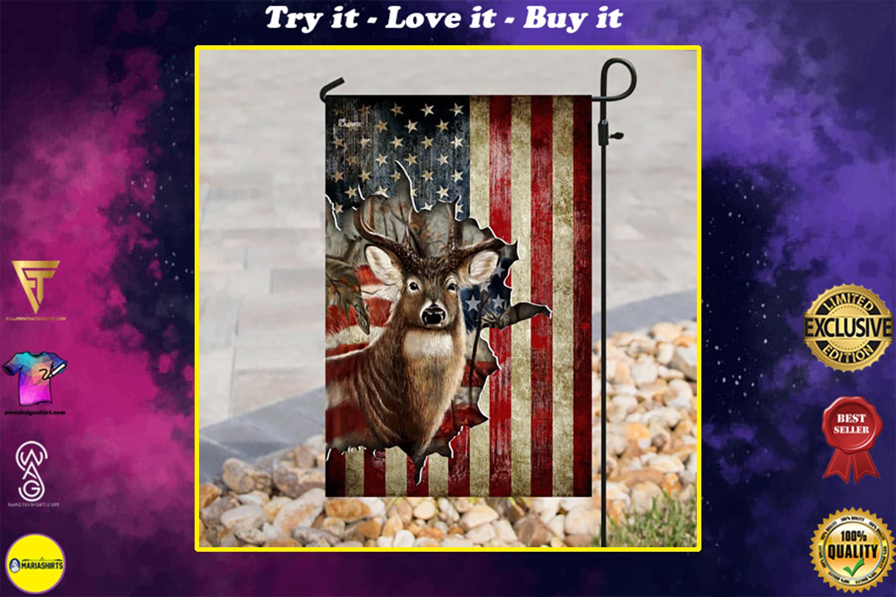 american flag deer hunter all over printed flag
