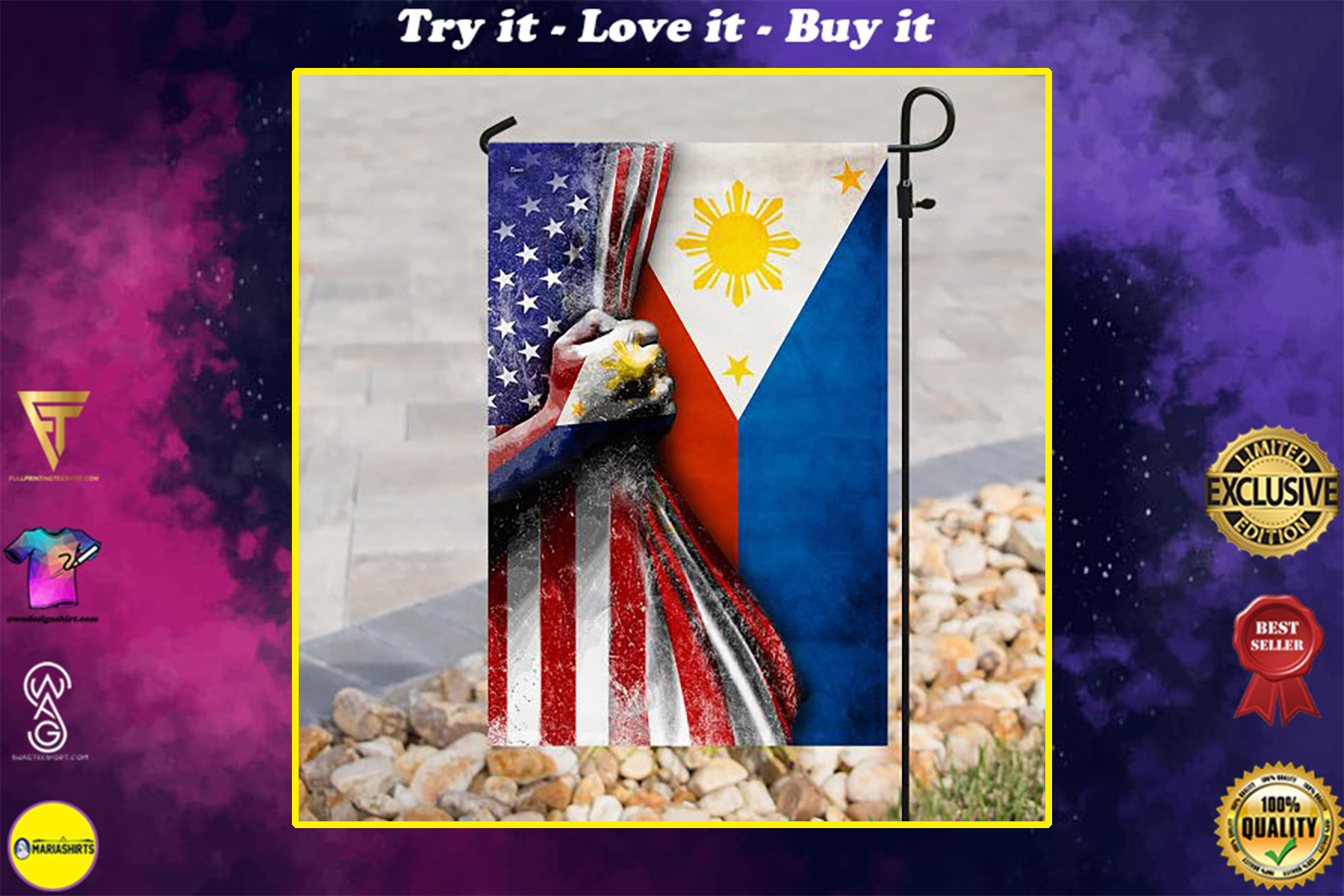 american flag filipino flag all over print flag