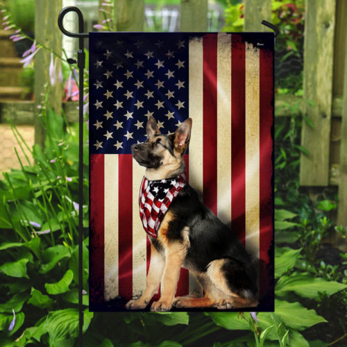 american flag german shepherd all over print flag 2