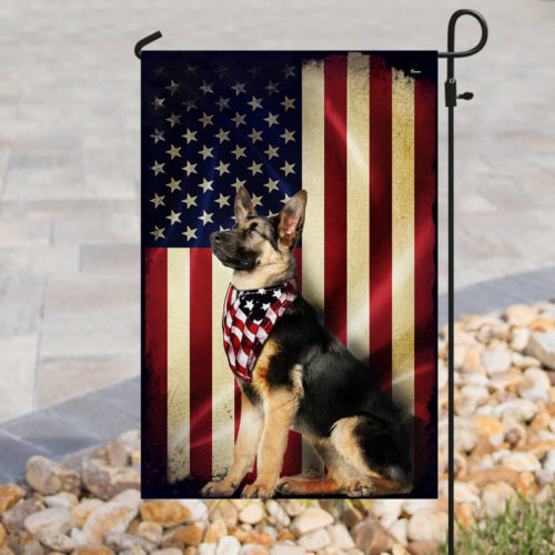 american flag german shepherd all over print flag 3