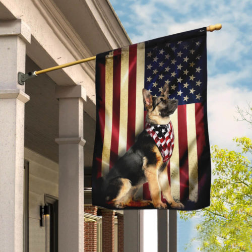 american flag german shepherd all over print flag 4